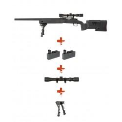 SPECNA ARMS - Pack Sniper SA-S02 CORE Noir avec lunette 3-9x40 + bipied + 2 chargeurs sup