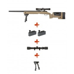 SPECNA ARMS - Pack Sniper SA-S02 CORE Tan avec lunette 3-9x40 + bipied + 2 chargeurs sup