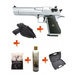 Pack DESERT EAGLE HFC chromé + mallette + gaz + billes 0,25gr + holster