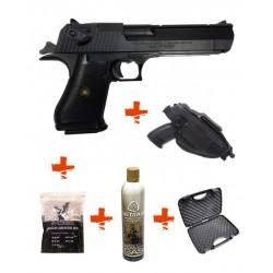 Pack DESERT EAGLE HFC Noir + mallette + gaz + billes 0,25gr + holster
