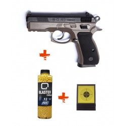 Pack CZ 75D Compact spring ASG + billes 0,12gr + cible