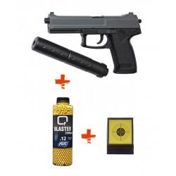 Pack Pistolet Airsoft Spring DL 60 SOCOM ASG + Billes 0,12gr + cibles