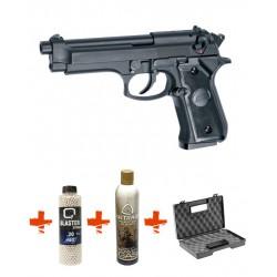Pack Pistolet Airsoft M92F ASG + billes 0,20gr + Gaz + Mallette