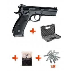 Pack CZ SP-01 SHADOW ASG + billes 0,25gr + Cartouches de Co2 + Mallette