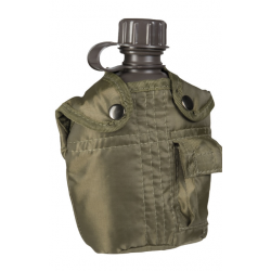 Water bottle with cup, pouch olive