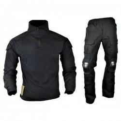 JS TACTICAL - Tenue complète avec protections genoux/Coudes - NOIR