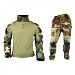 JS TACTICAL - Tenue complète avec protections genoux/Coudes - WOODLAND