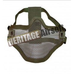 Masque grillagé airsoft de protection - 2 bandes de fixations - Olive