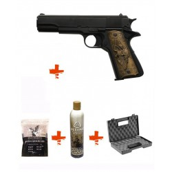 Pack 1911 HFC + Gaz + Billes 0,25gr + Mallette