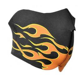 DMONIAC - Masque Néoprène demi Flammes noir/orange