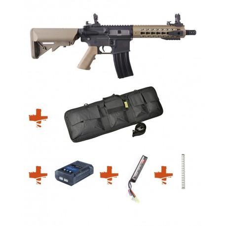 SPECNA ARMS - Pack M4 RRA SA-C08 CORE tan + Batterie + Chargeur de batterie + Ressort M90 + Housse