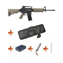 Pack Débutant Réplique Airsoft M4 A1 SA-C01 CORE avec mosfet - TAN