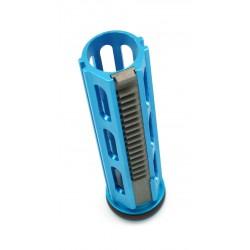 Piston 19 dents alu fraisé CNC allégé anodisé bleu avec tête alu et dents acier - L&G