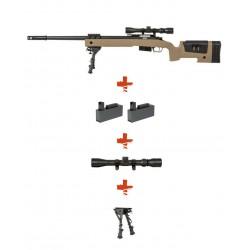 SPECNA ARMS - Pack Sniper SA-S03 CORE Tan avec lunette 3-9x40 + bipied + 2 chargeurs sup