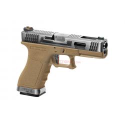 WE - Pistolet Airsoft S18 G-FORCE T7 GBB Gaz - ARGENT/ARGENT/TAN