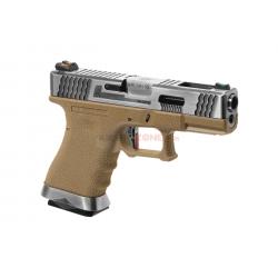 WE - Pistolet Airsoft S19 G-FORCE T8 GBB Gaz - ARGENT/ARGENT/TAN