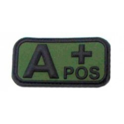 Ecusson - PVC - olive - groupe sanguin A+ - MFH