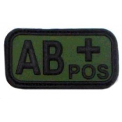Ecusson - PVC - olive - groupe sanguin AB+ - MFH