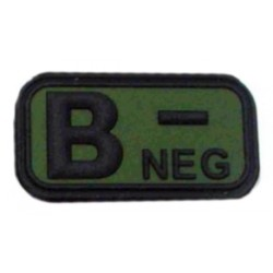 Ecusson - PVC - olive - groupe sanguin B- - MFH