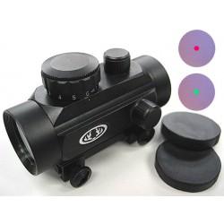 Viseur point rouge ou vert, red dot, 30 mm avec support de fixation sur rail picatinny
