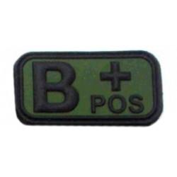 Ecusson - PVC - olive - groupe sanguin B+ - MFH