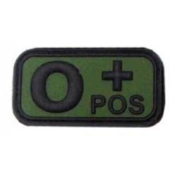 Ecusson - PVC - olive - groupe sanguin O+ - MFH