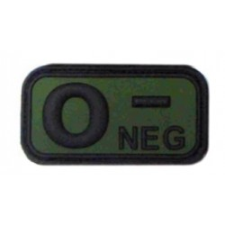 Ecusson - PVC - olive - groupe sanguin O- - MFH