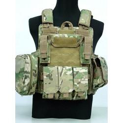 Ciras MAR gilet d'assaut porte plaques avec poches MOLLE Multicamo