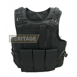 Gilet Noir Airsoft type FSBE, compatible plaques GK - avec poches MOLLE