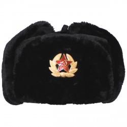 Chapka Russe - Noir - avec insigne soviétique (URSS) - MFH