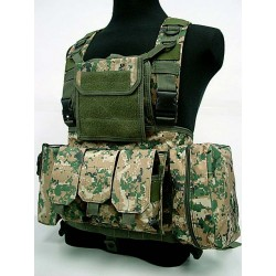 Chest Rig assault suspenders MOLLE with pouches Digital Woodland