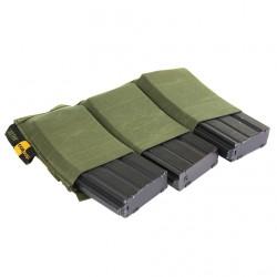 Porte chargeurs triple d'airsoft - M4 M16 - élastique - Olive