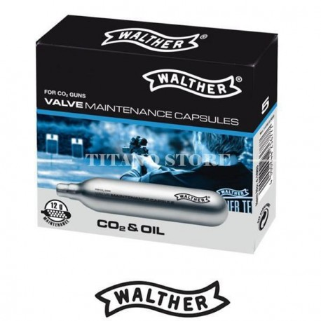 Capsule CO2 avec lubrifiant - boite de 5 - Walther