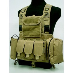 Chest Rig Brelage d´assaut MOLLE style RRV avec poches Coyote