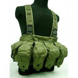 Brelage chest-rig porte-chargeurs AK vert olive