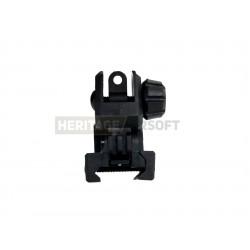 Mire arrière d'airsoft avec batton style phosphoréscent - Plastique - Noir - SRC