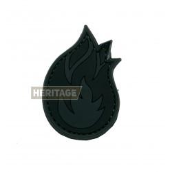 Ecusson Flamme PVC avec scratch noir