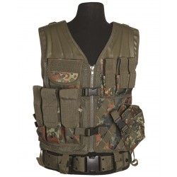 "Gilet tactique ""cross draw"" avec holster flecktarn"