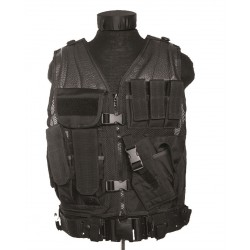 "Gilet tactique ""cross draw"" avec holster noir"