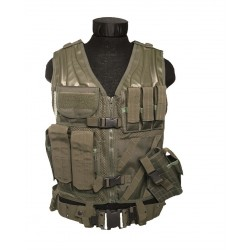 "Gilet tactique ""cross draw"" avec holster olive"