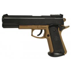 Réplique d'airsoft de pistolet d'airsoft Colt 1911 MK IV Dual Tone désert et noir réplique à ressort [ Spring ] + Offert : Grena